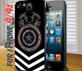 marvel the avenger captain america quotes Black Case for iphone 4 / 4s
